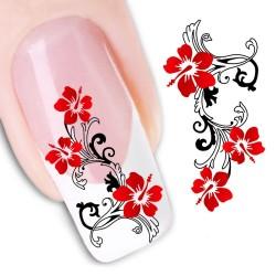 Pegatina nails Nº flores rojas