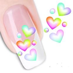 Pegatina nails Nº 25 Corazones Colores
