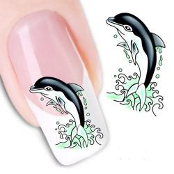 Pegatina nails Nº 26 Delfin verde negro